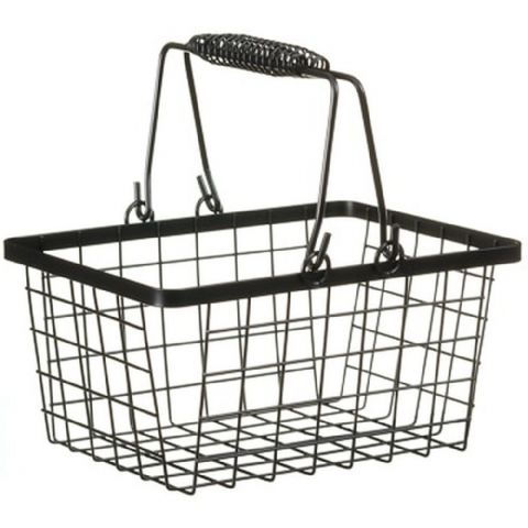 Wire Shopping Basket Storage Black